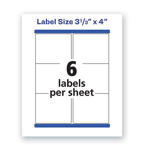 Waterproof Shipping Labels with TrueBlock and Sure Feed, Laser Printers, 3.33 x 4, White, 6/Sheet, 50 Sheets/Pack. Picture 2