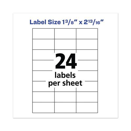 Copier Mailing Labels, Copiers, 1.38 x 2.81, White, 24/Sheet, 100 Sheets/Box. Picture 5