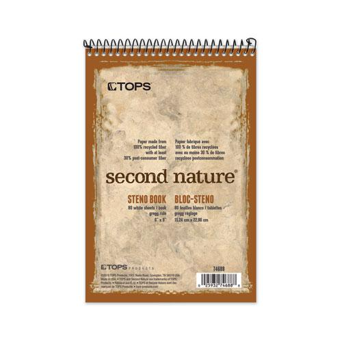 Second Nature Recycled Notebooks, Gregg Rule, 6 x 9, White, 80 Sheets. Picture 1