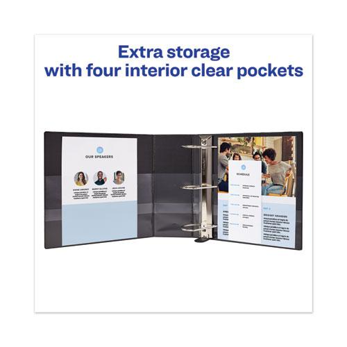 """Heavy-Duty View Binder with DuraHinge and Locking One Touch EZD Rings, 3 Rings, 5"""" Capacity, 11 x 8.5, Black. Picture 4"""