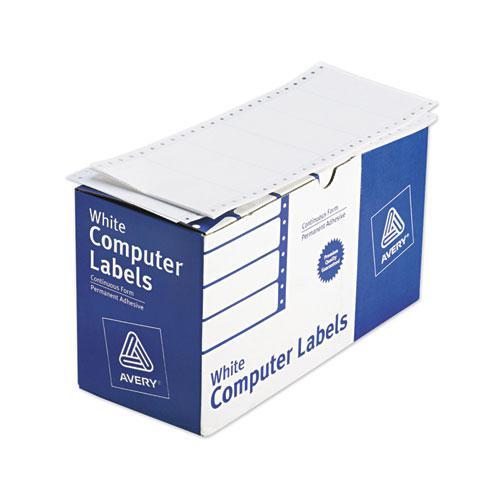 Dot Matrix Printer Mailing Labels, Pin-Fed Printers, 1.94 x 4, White, 5,000/Box. Picture 1