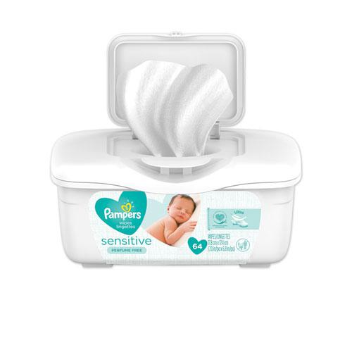 Sensitive Baby Wipes, White, Cotton, Unscented, 64/Tub, 8 Tub/Carton. Picture 1