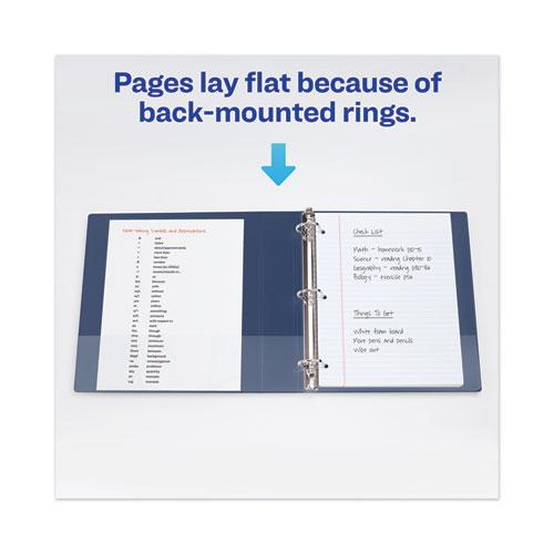 """Heavy-Duty View Binder with DuraHinge and Locking One Touch EZD Rings, 3 Rings, 4"""" Capacity, 11 x 8.5, Navy Blue. Picture 2"""