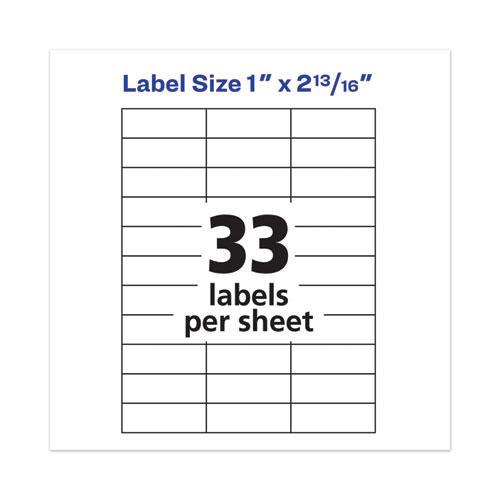 White Copier Labels, Copiers, 1 x 2.81, White, 33/Sheet, 100 Sheets/Box. Picture 3