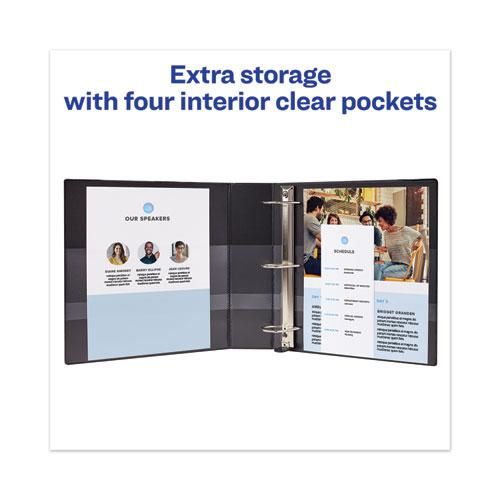 """Heavy-Duty View Binder with DuraHinge and Locking One Touch EZD Rings, 3 Rings, 3"""" Capacity, 11 x 8.5, Black. Picture 4"""