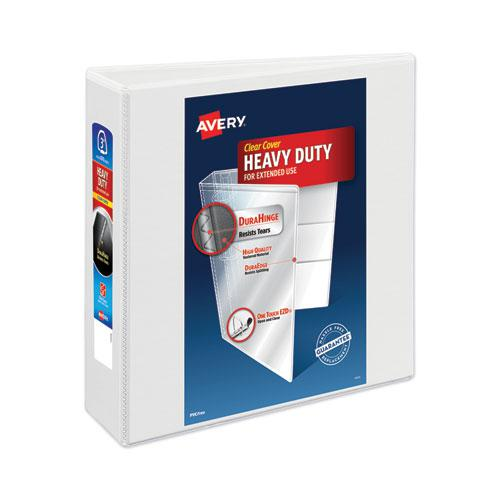 """Heavy-Duty View Binder with DuraHinge and Locking One Touch EZD Rings, 3 Rings, 3"""" Capacity, 11 x 8.5, White. Picture 1"""