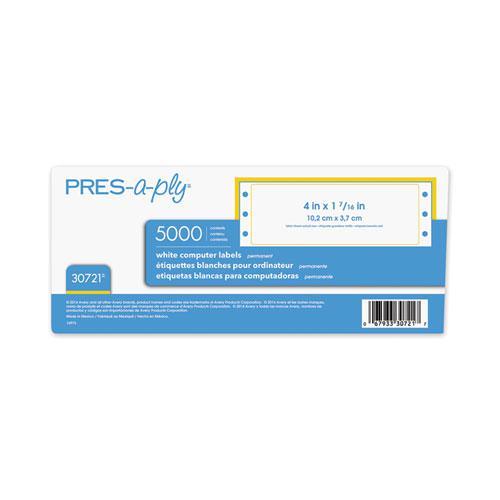 Dot Matrix Printer White Address Labels, Pin-Fed Printers, 1.44 x 4, White, 5,000/Box. Picture 4