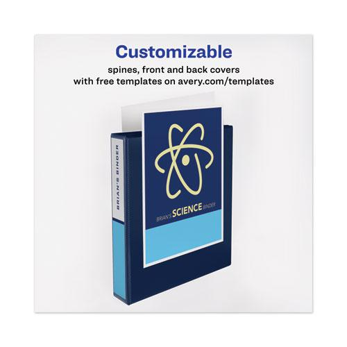 """Heavy-Duty View Binder with DuraHinge and Locking One Touch EZD Rings, 3 Rings, 4"""" Capacity, 11 x 8.5, Navy Blue. Picture 9"""