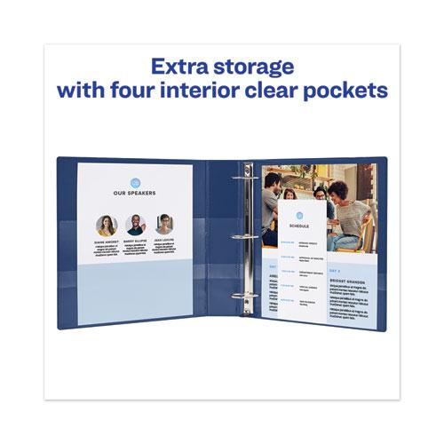 """Heavy-Duty View Binder with DuraHinge and Locking One Touch EZD Rings, 3 Rings, 4"""" Capacity, 11 x 8.5, Navy Blue. Picture 4"""