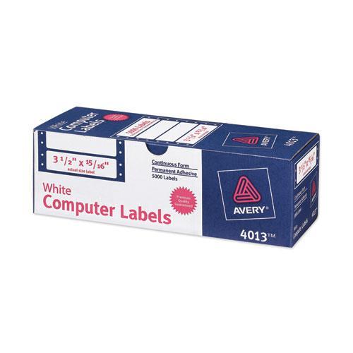 Dot Matrix Printer Mailing Labels, Pin-Fed Printers, 0.94 x 3.5, White, 5,000/Box. Picture 1
