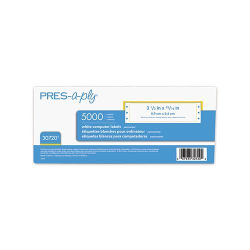 Dot Matrix Printer White Address Labels, Pin-Fed Printers, 0.94 x 3.5, White, 5,000/Box. Picture 5