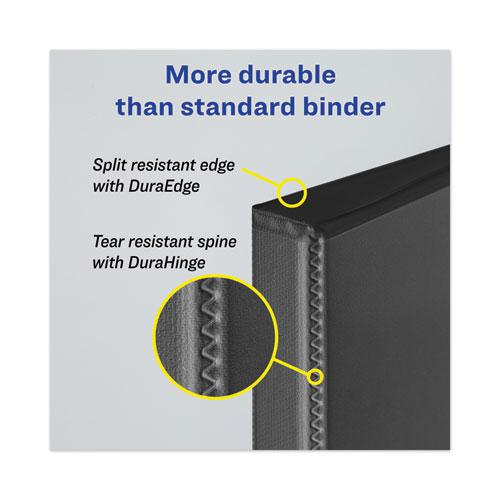 """Heavy-Duty View Binder with DuraHinge and Locking One Touch EZD Rings, 3 Rings, 4"""" Capacity, 11 x 8.5, Navy Blue. Picture 6"""