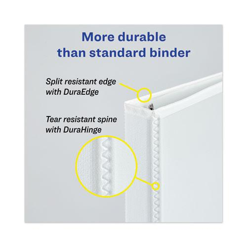 "Heavy-Duty View Binder with DuraHinge, One Touch EZD Rings and Extra-Wide Cover, 3 Ring, 2"" Capacity, 11 x 8.5, White, (1320). Picture 2"