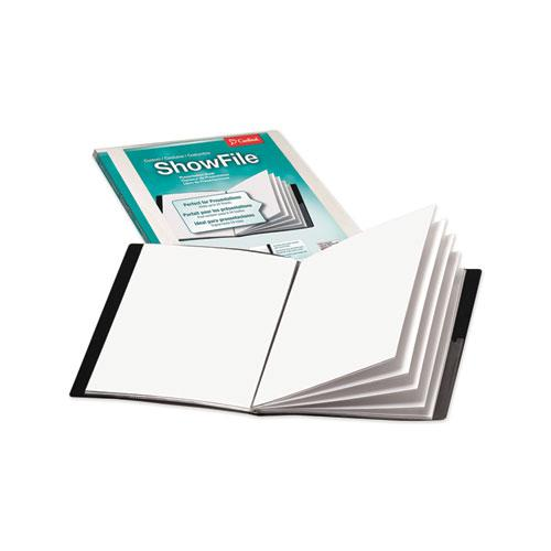 ShowFile Display Book w/Custom Cover Pocket, 12 Letter-Size Sleeves, Black. Picture 1