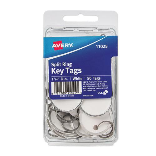 Key Tags with Split Ring, 1 1/4 dia, White, 50/Pack. Picture 1