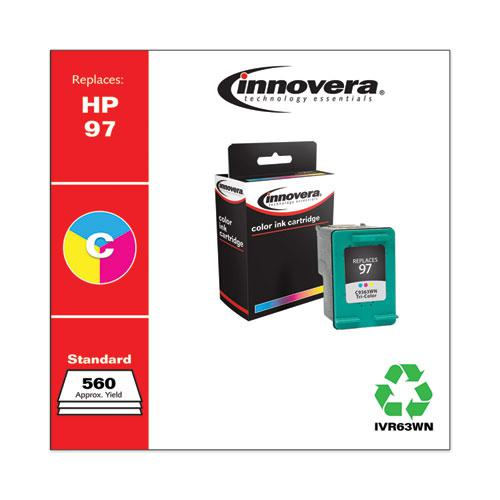 Remanufactured Tri-Color High-Yield Ink, Replacement for HP 97 (C9363WN), 560 Page-Yield. Picture 1