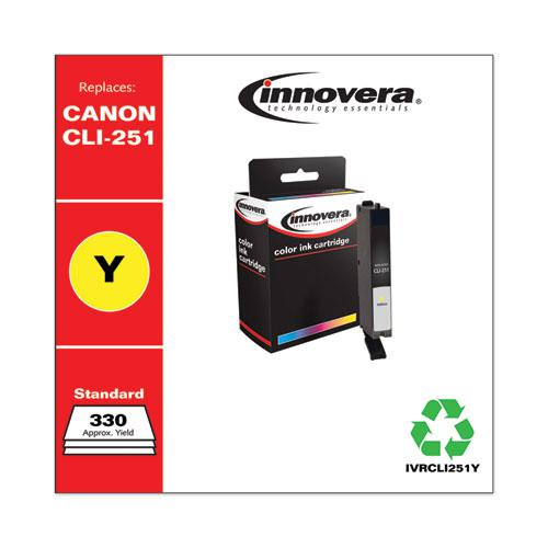 Remanufactured Yellow Ink, Replacement for Canon CLI-251 (6516B001), 330 Page-Yield. Picture 2