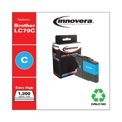 Remanufactured Cyan Extra High-Yield Ink, Replacement for Brother LC79C, 1,200 Page-Yield. Picture 2