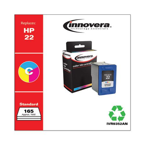 Remanufactured Tri-Color Ink, Replacement for HP 22 (C9352AN), 165 Page-Yield. Picture 1