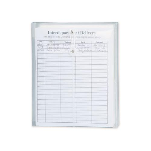 Poly String and Button Interoffice Envelopes, String and Button Closure, 9.75 x 11.63, Clear, 5/Pack. Picture 2