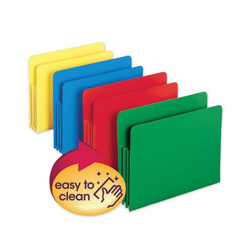 """Poly Drop Front File Pockets, 3.5"""" Expansion, 4 Sections, Letter Size, Assorted, 4/Box. Picture 1"""