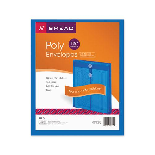 Poly String and Button Interoffice Envelopes, String and Button Closure, 9.75 x 11.63, Transparent Blue, 5/Pack. Picture 3