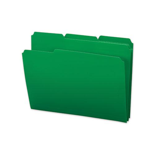 Top Tab Poly Colored File Folders, 1/3-Cut Tabs, Letter Size, Green, 24/Box. Picture 2