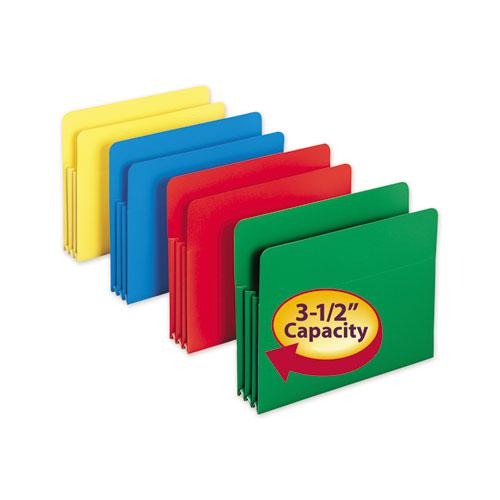 """Poly Drop Front File Pockets, 3.5"""" Expansion, 4 Sections, Letter Size, Assorted, 4/Box. Picture 2"""