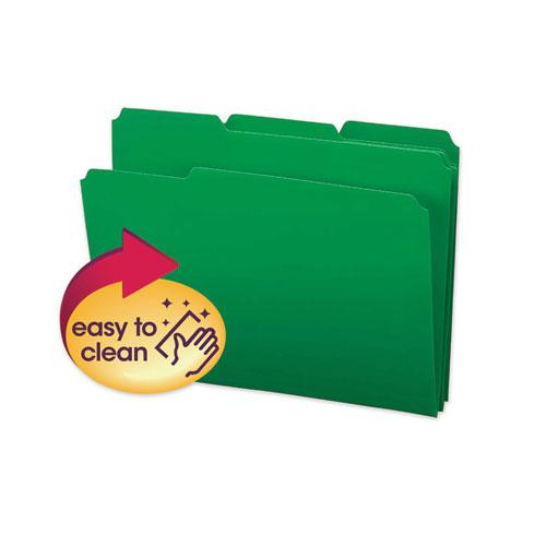 Top Tab Poly Colored File Folders, 1/3-Cut Tabs, Letter Size, Green, 24/Box. Picture 1