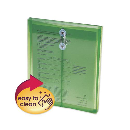 Poly String and Button Interoffice Envelopes, String and Button Closure, 9.75 x 11.63, Transparent Green, 5/Pack. Picture 1