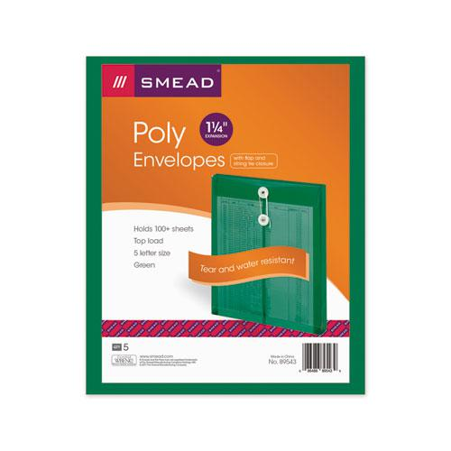 Poly String and Button Interoffice Envelopes, String and Button Closure, 9.75 x 11.63, Transparent Green, 5/Pack. Picture 2