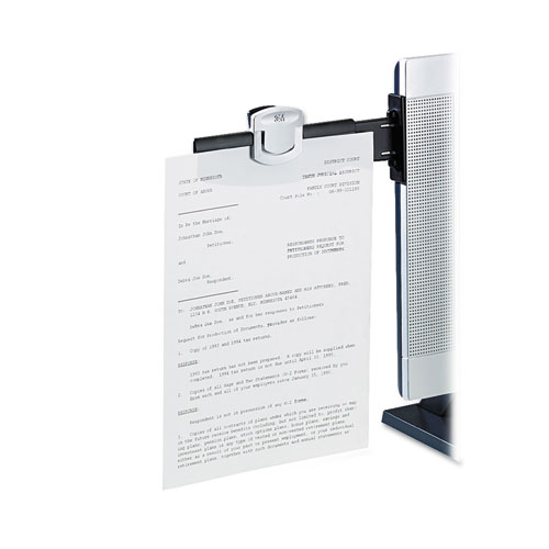 Swing Arm Copyholder, Adhesive Monitor Mount, Plastic, 30 Sheet Capacity, Black. Picture 2