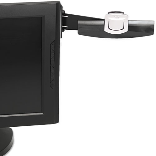 Swing Arm Copyholder, Adhesive Monitor Mount, Plastic, 30 Sheet Capacity, Black. Picture 1