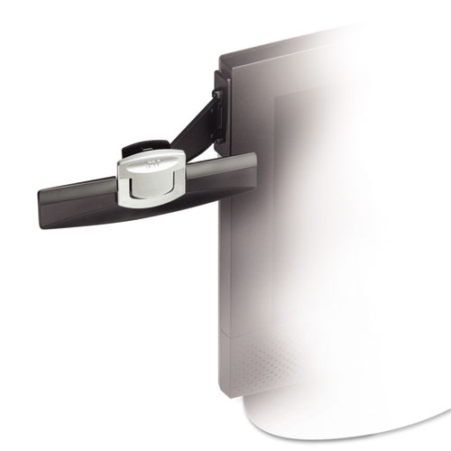Swing Arm Copyholder, Adhesive Monitor Mount, Plastic, 30 Sheet Capacity, Black. Picture 4