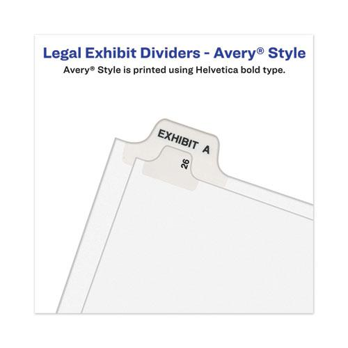 Avery-Style Preprinted Legal Bottom Tab Divider, Exhibit H, Letter, White, 25/PK. Picture 2