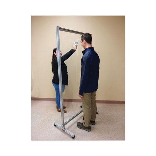 """Acrylic Mobile Divider with Thermometer Access Cutout, 38.5"""" x 23.75"""" x 74.19"""", Clear. Picture 2"""