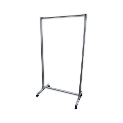 """Acrylic Mobile Divider with Thermometer Access Cutout, 38.5"""" x 23.75"""" x 74.19"""", Clear. Picture 1"""