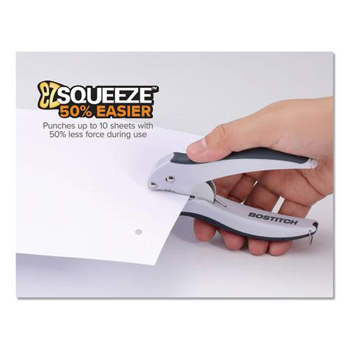 EZ Squeeze One-Hole Punch, 10-Sheet Capacity, Gray. Picture 4