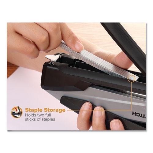 InPower Spring-Powered Premium Desktop Stapler, 28-Sheet Capacity, Black/Gray. Picture 8