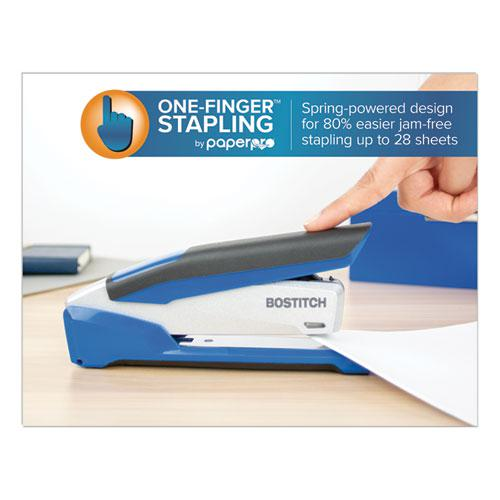 InPower Spring-Powered Premium Desktop Stapler, 28-Sheet Capacity, Blue/Silver. Picture 4