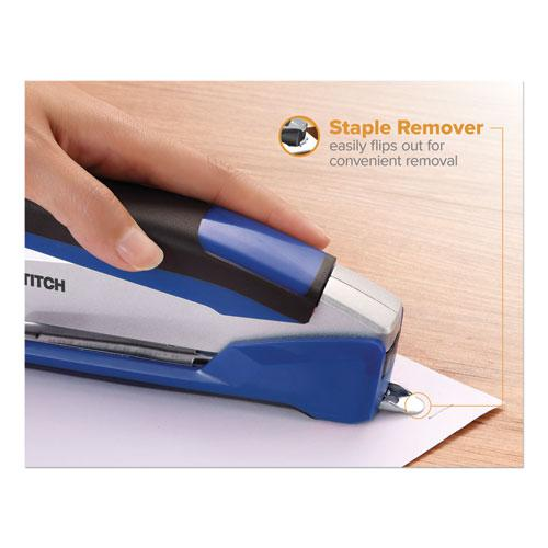InPower Spring-Powered Premium Desktop Stapler, 28-Sheet Capacity, Blue/Silver. Picture 6