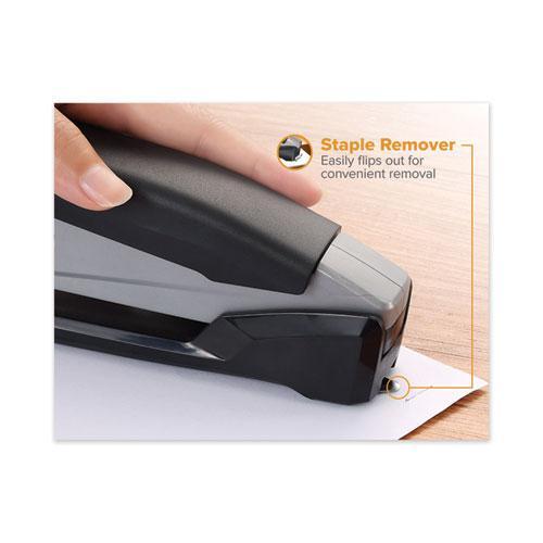 InPower Spring-Powered Premium Desktop Stapler, 28-Sheet Capacity, Black/Gray. Picture 2