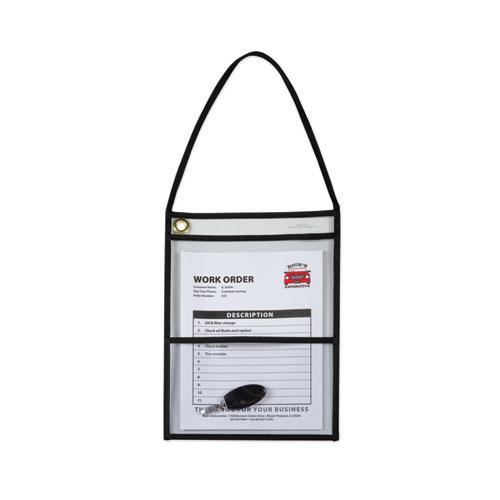 2-Pocket Shop Ticket Holder w/Strap, Black Stitching, 150-Sheet, 9 x 12, 15/Box. Picture 4