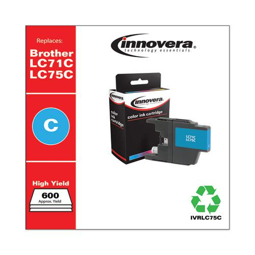 Remanufactured Cyan High-Yield Ink, Replacement for Brother LC75C, 600 Page-Yield. Picture 2