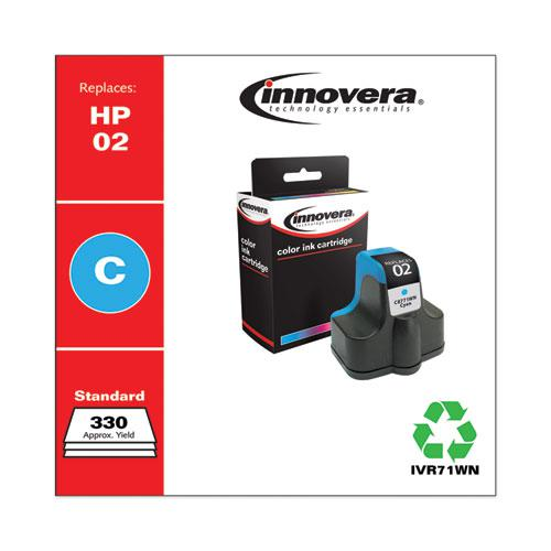 Remanufactured Cyan Ink, Replacement for HP 02 (C8771WN), 400 Page-Yield. Picture 1