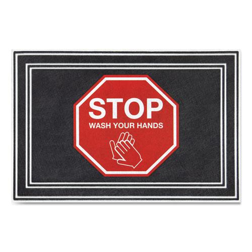 """Message Floor Mats, 24 x 36, Charcoal/Red, """"Stop Wash Your Hands"""". Picture 1"""