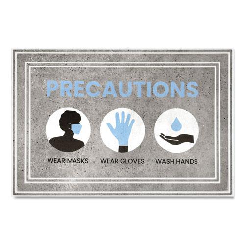 "Message Floor Mats, 24 x 36, Gray/Blue, ""Precautions Wear Masks Wear Gloves Wash Hands"". Picture 1"