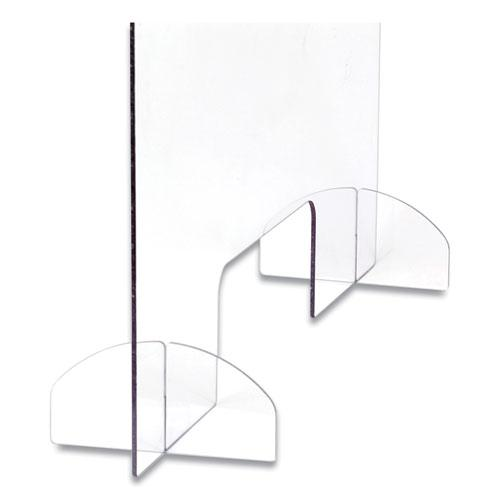 Portable Acrylic Sneeze Guard with Document Pass Through, 30 x 8 x 28, Acrylic, Clear. Picture 2