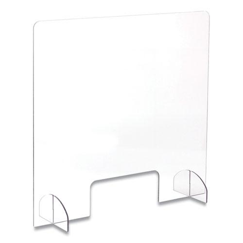 Portable Acrylic Sneeze Guard with Document Pass Through, 30 x 8 x 28, Acrylic, Clear. Picture 1