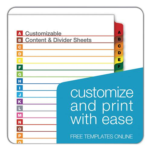 OneStep Printable Table of Contents and Dividers, 26-Tab, A to Z, 11 x 8.5, White, 1 Set. Picture 5
